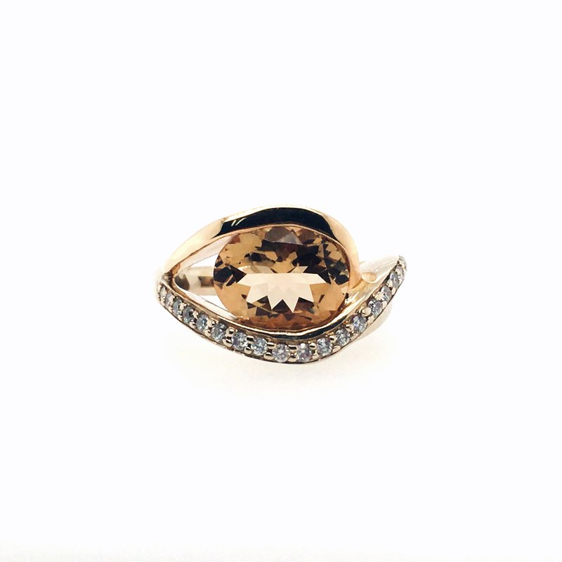 Frank Reubel Oval Imperial Topaz and Diamond Ring