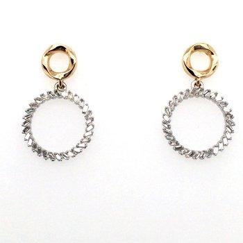 Baguette Diamond Circle Stud Drop Earrings