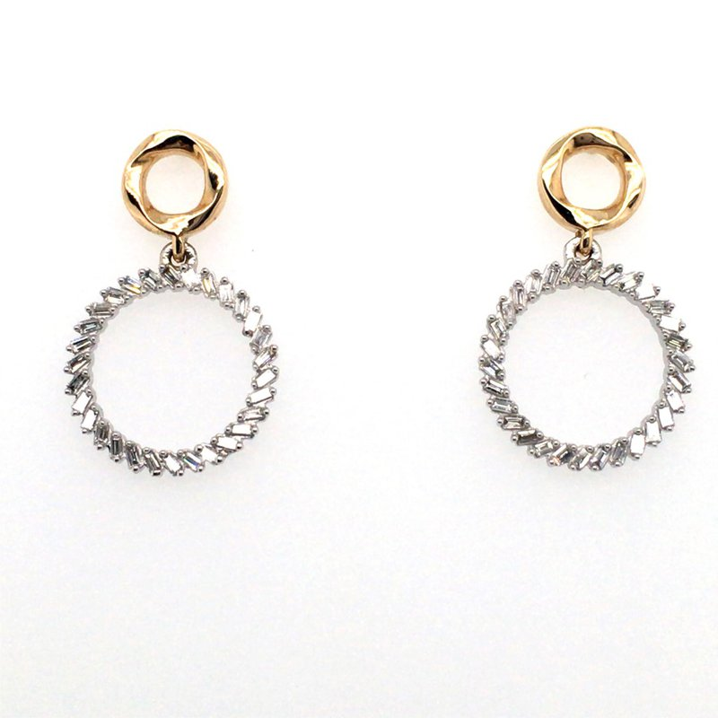 Variety Gem Baguette Diamond Circle Stud Drop Earrings
