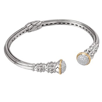 Eleganza Ladies Diamond Open Hinged Cuff Bracelet