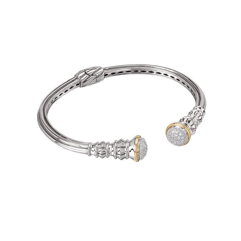Kim International Eleganza Ladies Diamond Open Hinged Cuff Bracelet