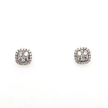 Cushion Diamond With Halo Stud Earrings