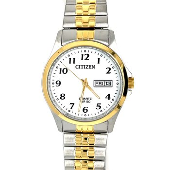 Citizen two tone expansion band, white dial with gold bezel and hands, black numbers and date with quartz movement