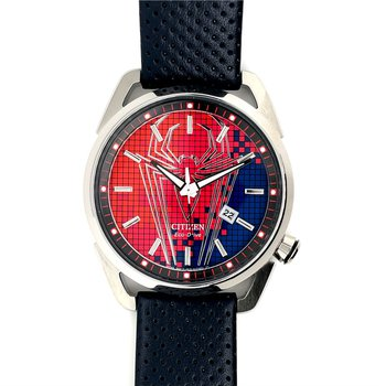 Citizen Marvel Spiderman Watch, Red And Blue Dial And Spiderman Signature Look, Time And Date With Eco Drive