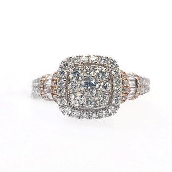 Diamond Cluster and Cushion Halo with Baguettes on Side Ring