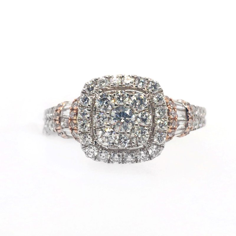 Gems One Diamond Cluster and Cushion Halo with Baguettes on Side Ring