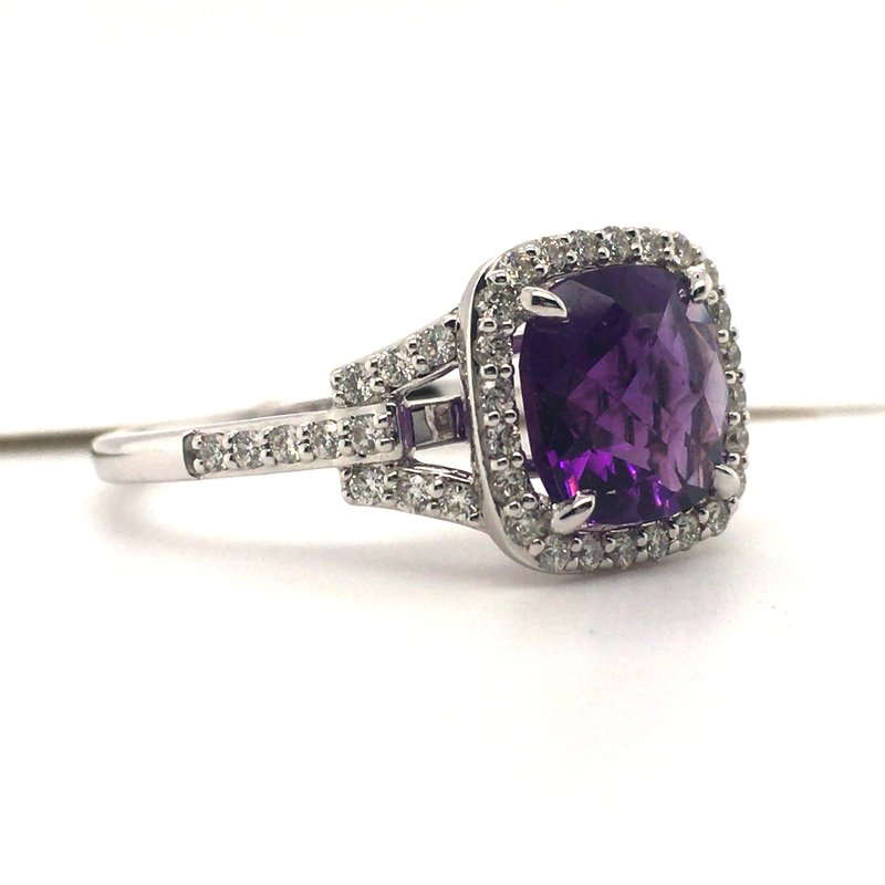 Variety Gem Diamond and Cushion Amethyst Ring