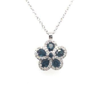 Sapphire and Diamond Floral Pendant
