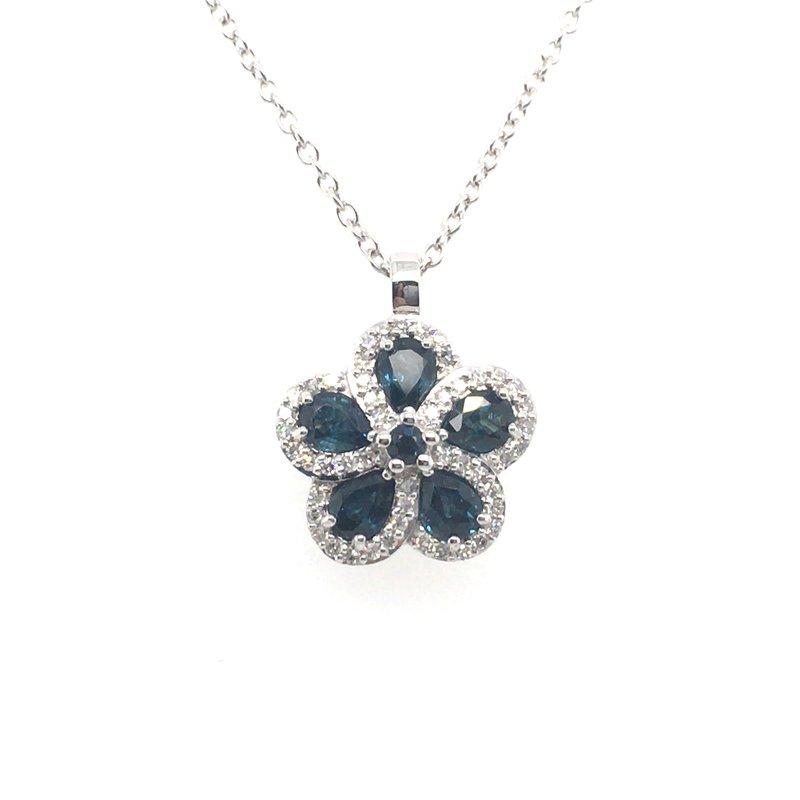 Gems One Sapphire and Diamond Floral Pendant