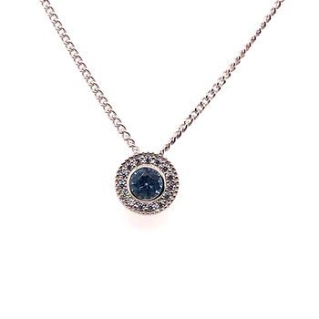 Kelly Waters Round Simulated Blue Topaz Gem Pendant With Simulated Diamonds