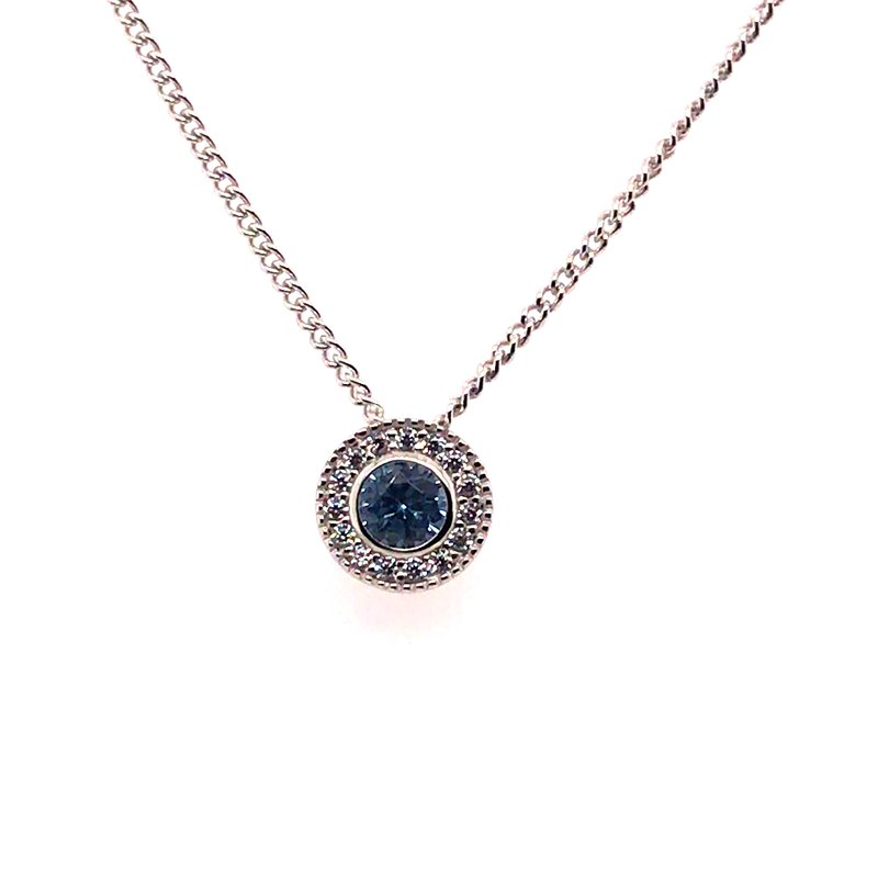 Kelly Waters Kelly Waters Round Simulated Blue Topaz Gem Pendant With Simulated Diamonds