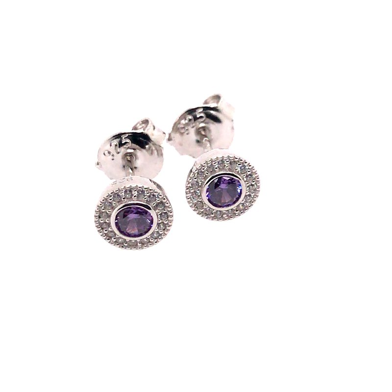 Kelly Waters Kelly Waters Micropave Round Simulated Amethyst Earrings With Simulated Diamonds