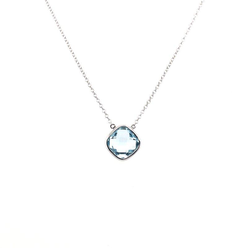 Kim International Checkerboard Aquamarine Necklace