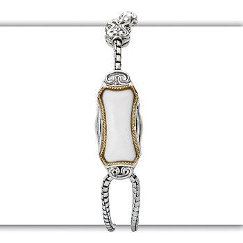 Eleganza Ladies Adjustable Bracelet with Chalcedony Center