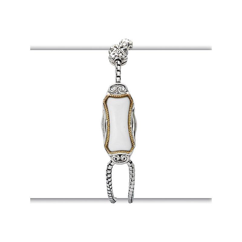 Kim International Eleganza Ladies Adjustable Bracelet with Chalcedony Center