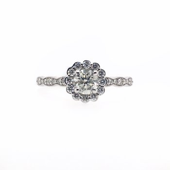Scallop Halo and Carat Round Center Ring