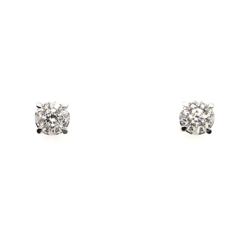 Shay Carizza 14 Karat White Gold Round Diamond Cluster Set Stud Earrings