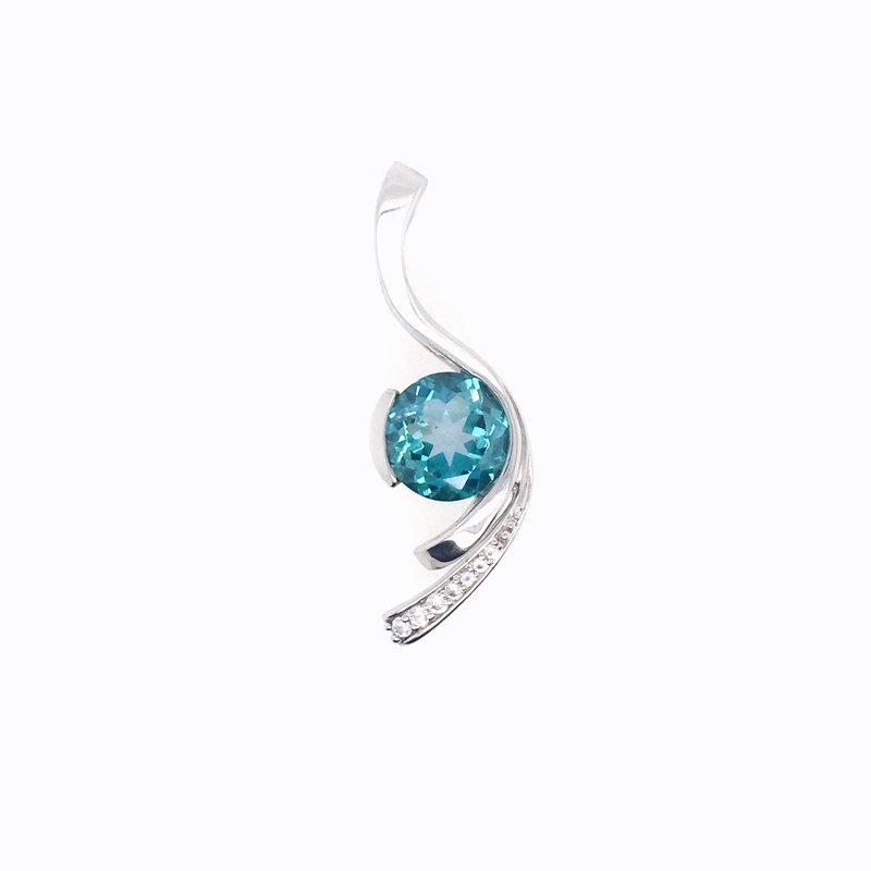 Frank Reubel Wave Pendant With White Sapphire and Blue Zircon