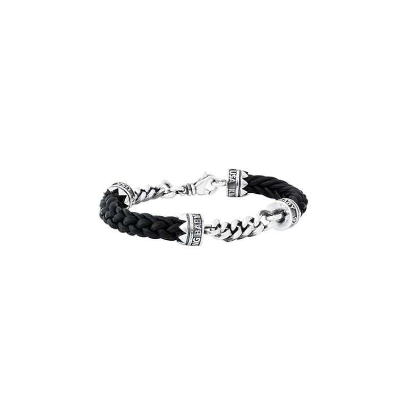 King Baby Double Silver Chain and Leather Lanyard Bracelet