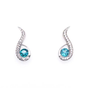 White Sapphire and Blue Topaz Stud Drop Earrings