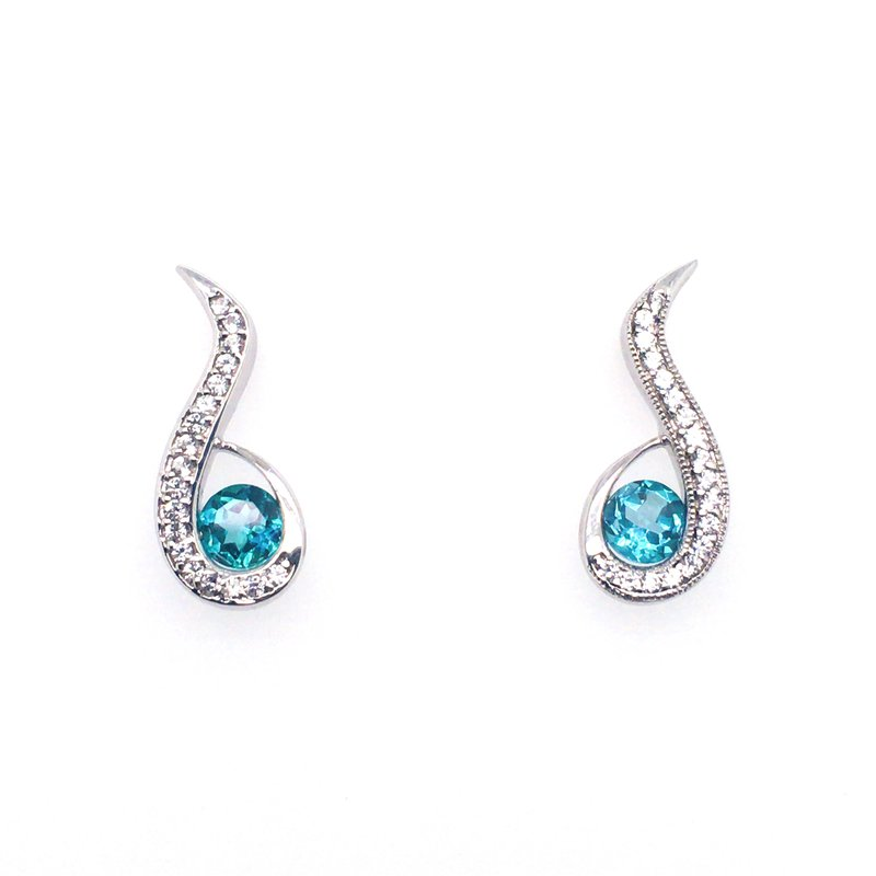 Frank Reubel White Sapphire and Blue Topaz Stud Drop Earrings
