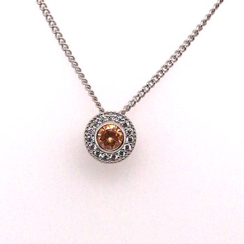 Kelly Waters Round Simulated Citrine Gem Pendant With Simulated Diamonds