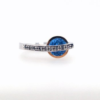 Kashmire Blue Topaz and White Sapphire Ring