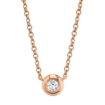 14 Karat Rose Gold 0.05 Carat Diamond Bezel Necklace