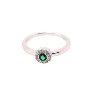 Kelly Waters Micropave Round Simulated Emerald Ring With Simulated Diamonds