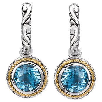 Eleganza Ladies Dangling Huggie Blue Topaz Earrings