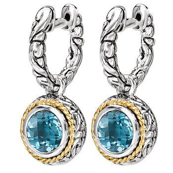 Eleganza Ladies Dangling Huggie Blue Topaz Earrings