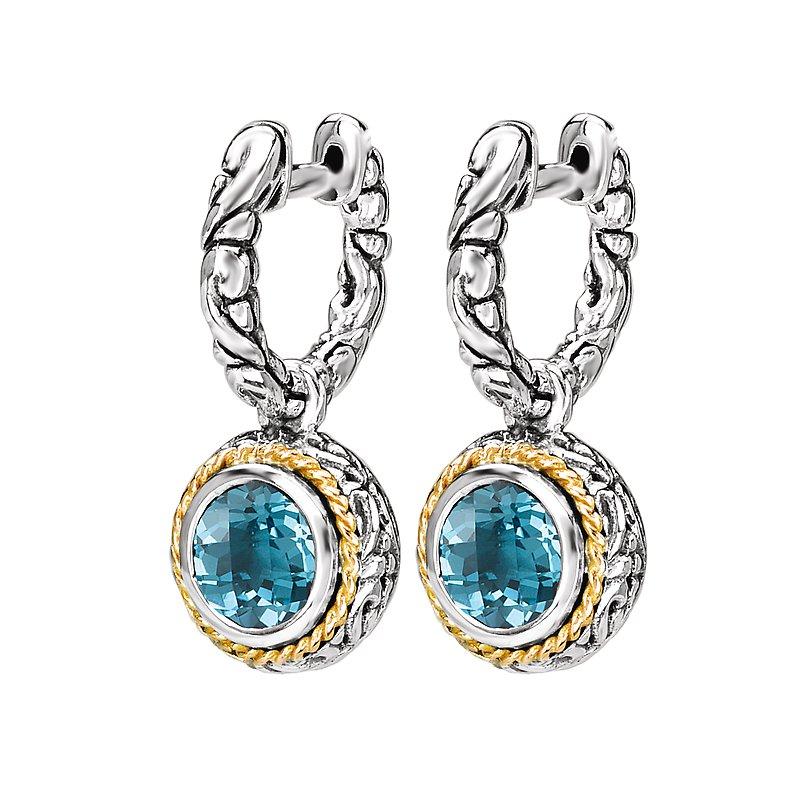 Kim International Eleganza Ladies Dangling Huggie Blue Topaz Earrings