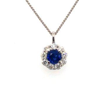 Round Sapphire Diamond Halo Pendant