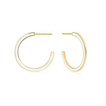 Bright Future Optic White Enamel Hoop Earrings
