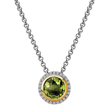 Eleganza Halo Necklace with Peridot and Diamonds