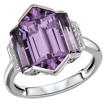Eleganza Ladies Sterling Silver Amethyst Ring With Diamonds