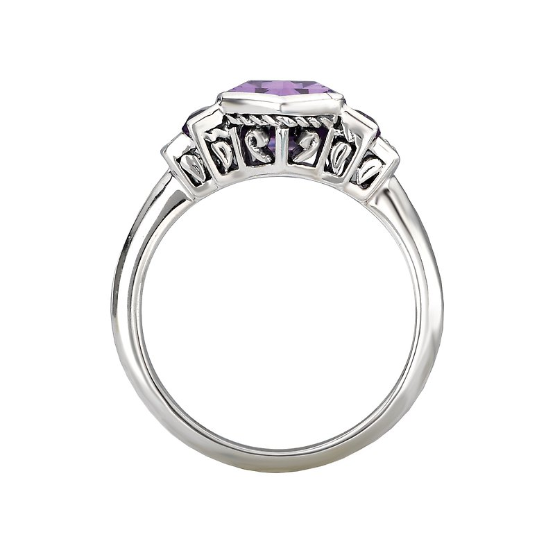 Kim International Eleganza Ladies Sterling Silver Amethyst Ring With Diamonds