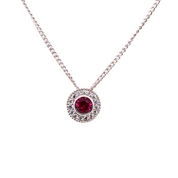 Kelly Waters Round Simulated Ruby Gem Pendant With Simulated Diamonds