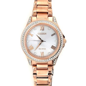 Citizen Watch Rose Gold Plated, Rose Gold, Roman Numerals With Eco Drive Technology