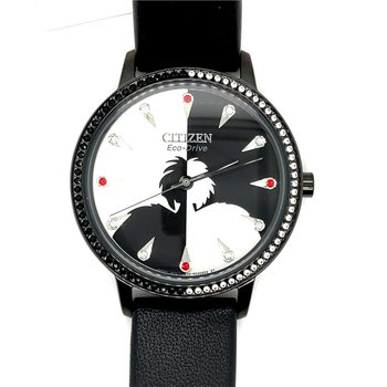 Citizen Watch With Disney's Cruella, Black Leather With Black And White Dial, Black And White Stones Around Dial And Red And White Stones On Dial With Eco Drive Technology