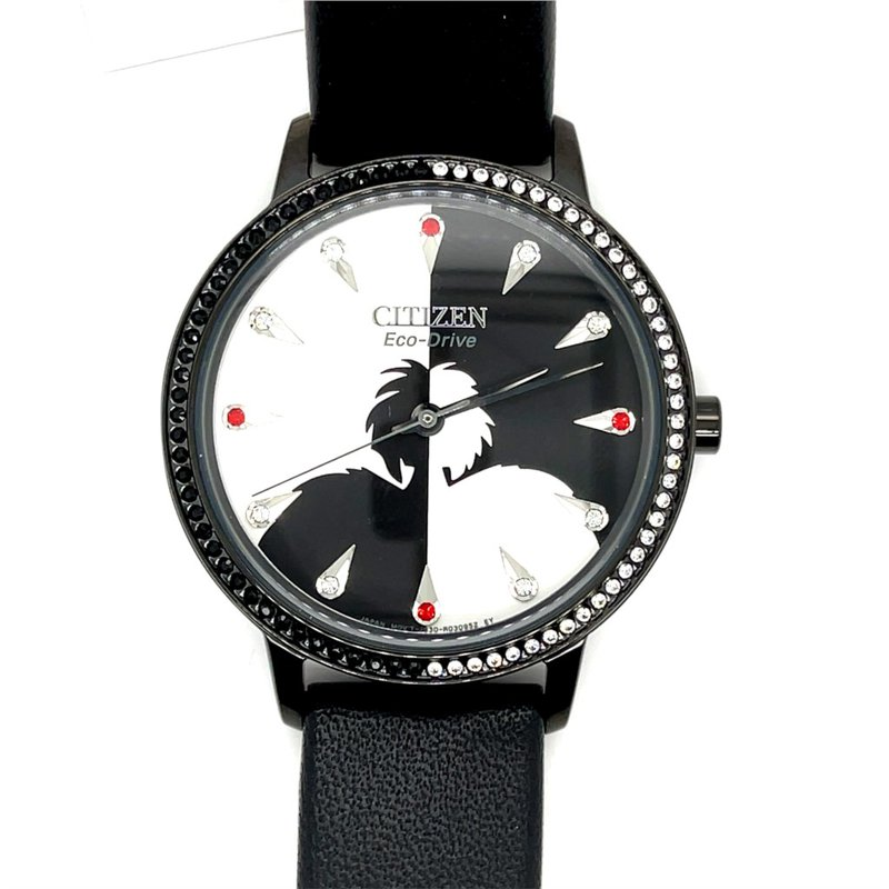 Citizen Citizen Watch With Disney's Cruella, Black Leather With Black And White Dial, Black And White Stones Around Dial And Red And White Stones On Dial With Eco Drive Technology