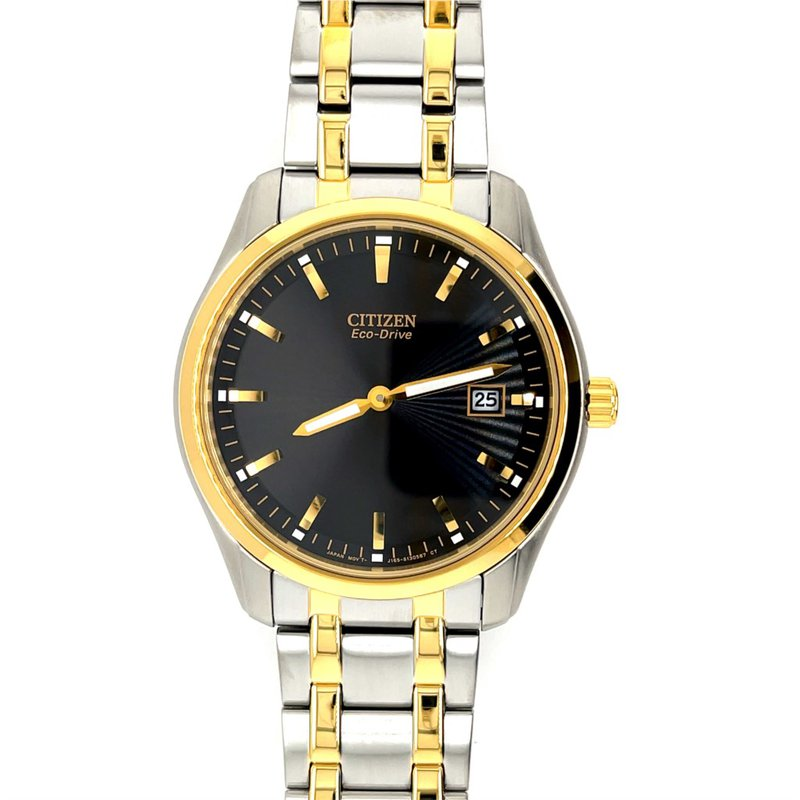 Citizen Citizen Stainless Steel Watch with Two Tone Bracelet, Bezel And Dial With Eco Drive Technology Time And Date