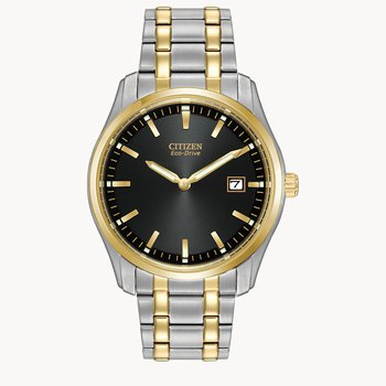 Citizen Stainless Steel Watch with Two Tone Bracelet, Bezel And Dial With Eco Drive Technology Time And Date