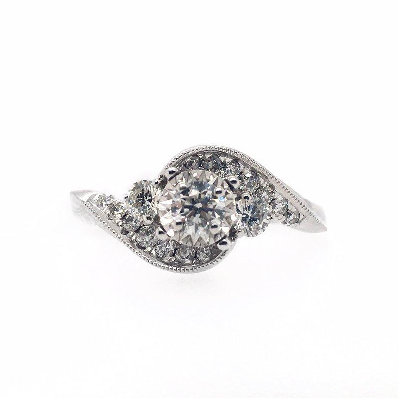 Gems One Diamond Three Stone Swirl Ring