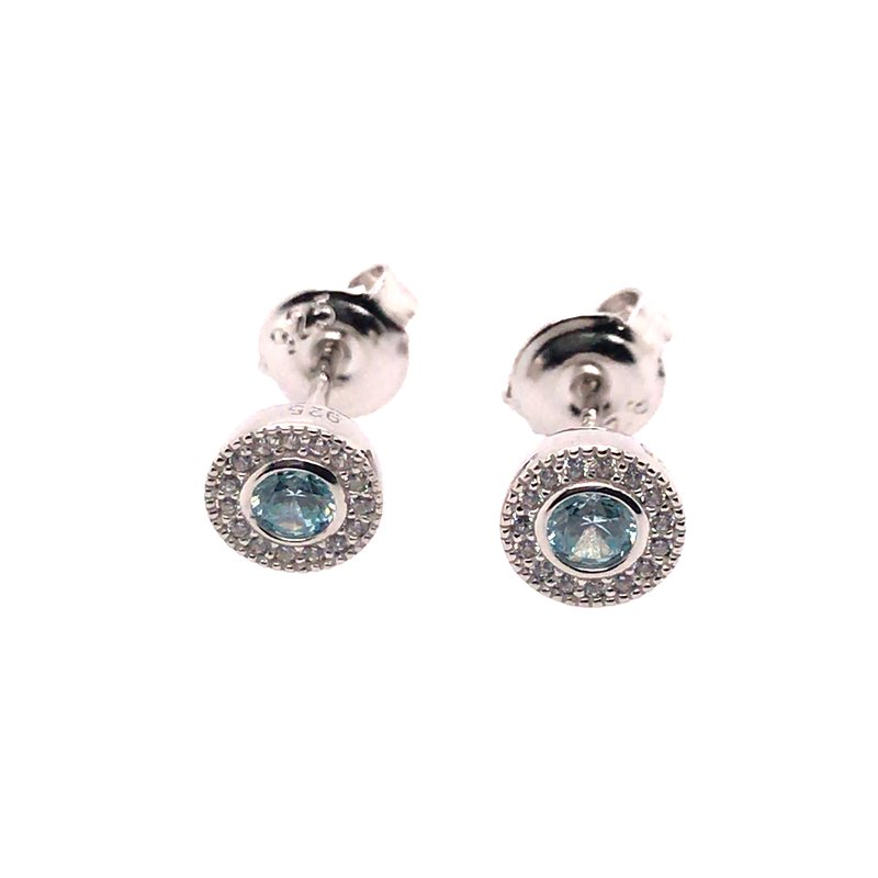 Kelly Waters Kelly Waters Micropave Round Simulated Aquamarine Earrings With Simulated Diamonds