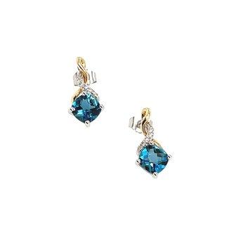 Round Diamonds & Cushion Cut Blue Topaz Earrings