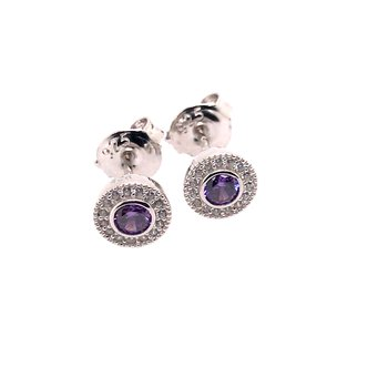 Kelly Waters Micropave Round Simulated Amethyst Earrings With Simulated Diamonds