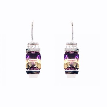 Ametrine Quartz and White Sapphire French Wire Drop Earrings