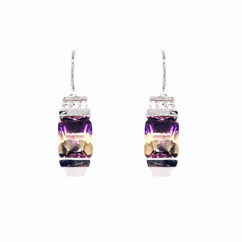 Frank Reubel Ametrine Quartz and White Sapphire French Wire Drop Earrings