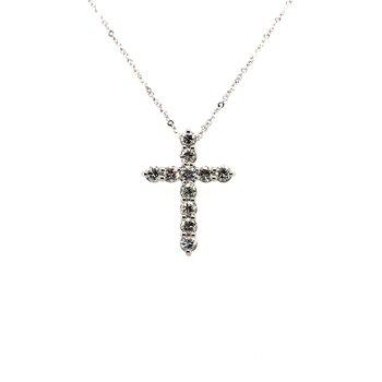 Sterling Silver Diamond Cross Pendant